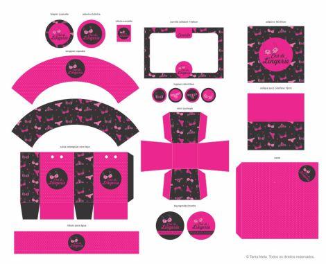 chá lingerie pink e preto