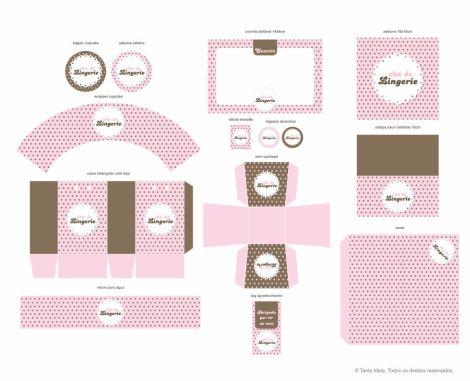 chá lingerie poá rosa e marrom