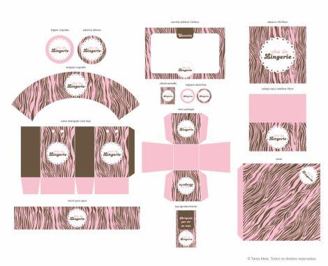chá lingerie zebra rosa e marrom
