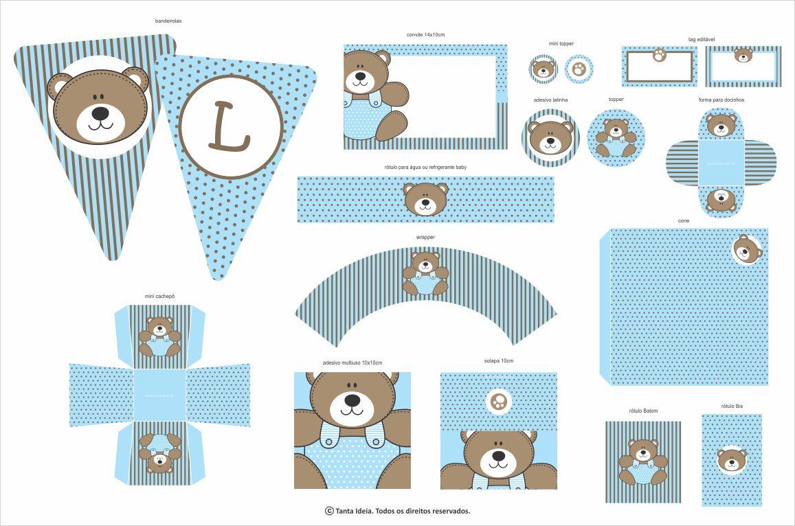 decoracao festa urso azul e marrom:Festa Fácil: Papelaria Pronta Ursinho Azul e Marrom